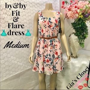 by&by Sleeveless Floral Fit & Flare Dresses